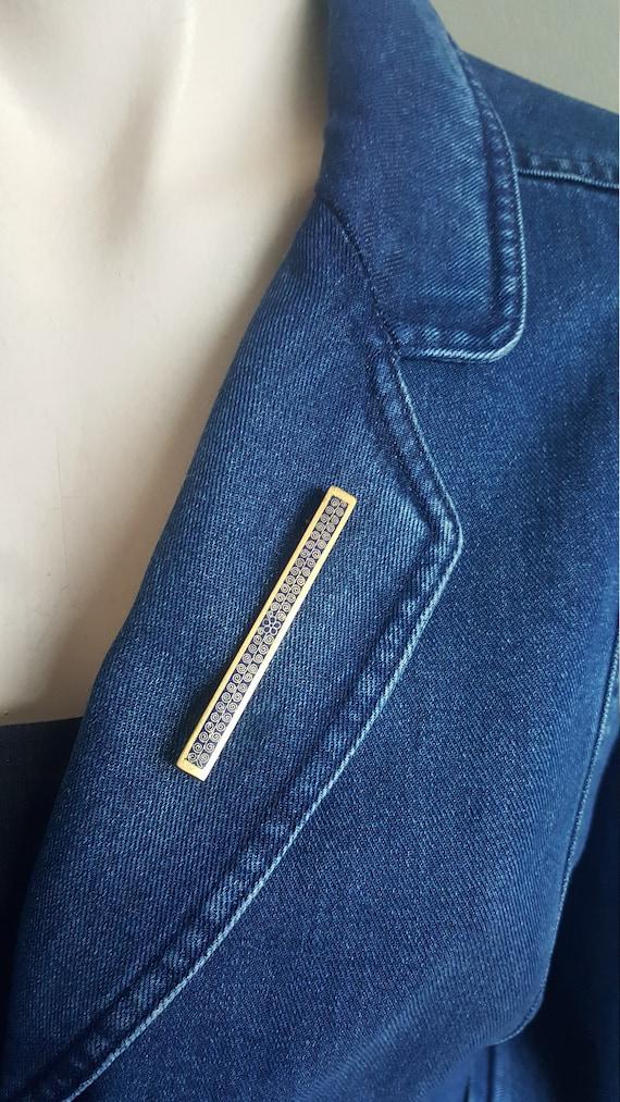 Antique Blue Gold Enamel Brooch Pin