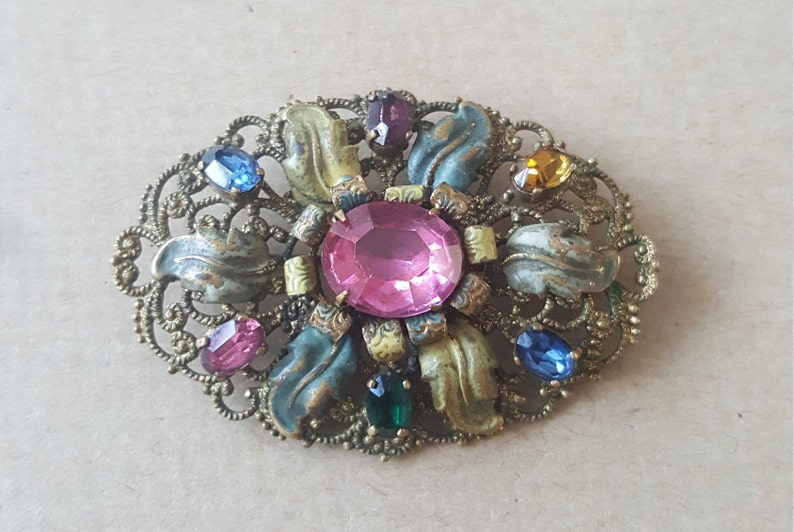 681e36b15 Vintage Art Deco Czech Bohemia Glass Filigree Floral Flower   Etsy