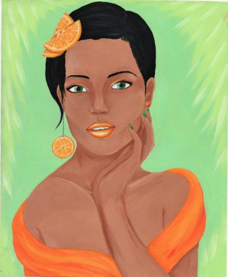 be5d102a9c49 Orange Fruit Themed Fashion Portrait Original Acrylic