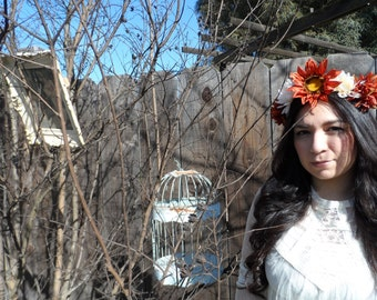 Fall time burnt orange and cream colored floral crown