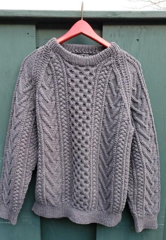 Vintage Gray Hand Knit Aran Fisherman Sweater - image 2