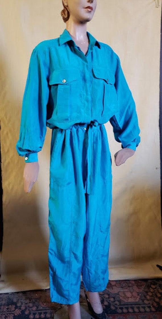 Fabulous 80's Peacock Blue Silk Jumpsuit