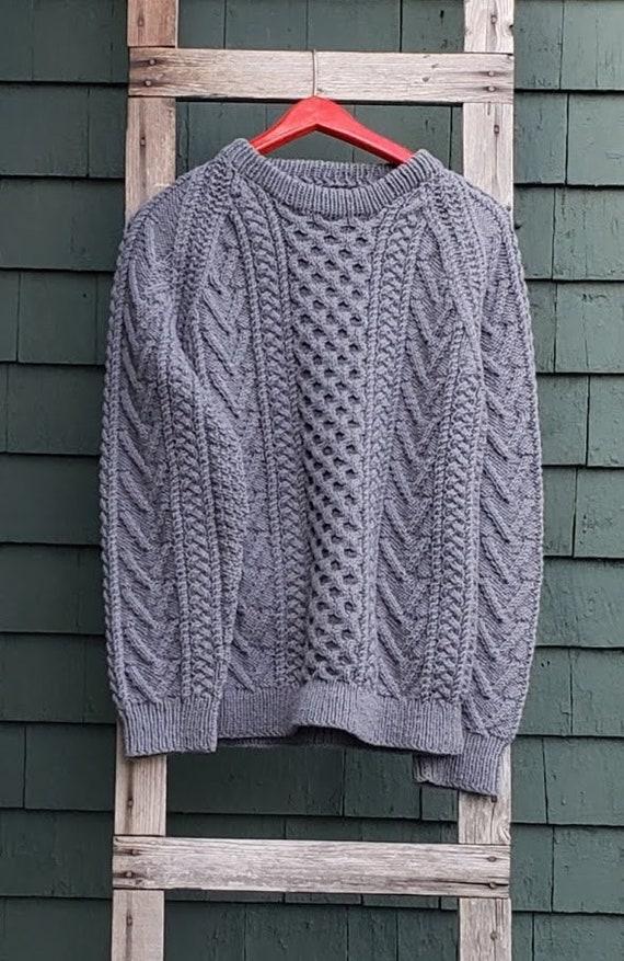 Vintage Gray Hand Knit Aran Fisherman Sweater - image 1