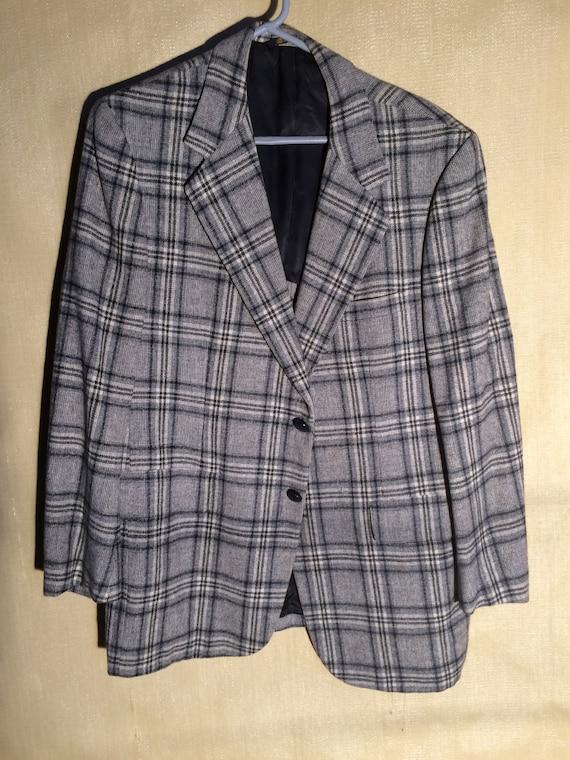 Vintage Grey Wool Bold Plaid Sport Coat 1970's Spo