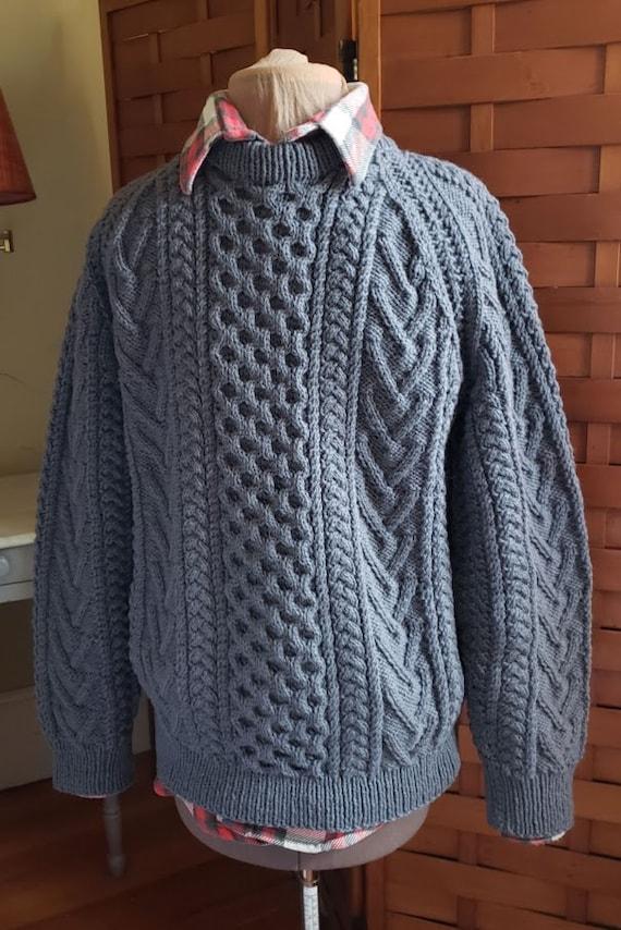 Vintage Gray Hand Knit Aran Fisherman Sweater - image 4