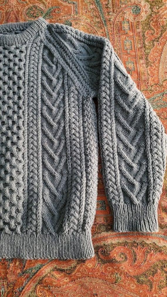 Vintage Gray Hand Knit Aran Fisherman Sweater - image 5