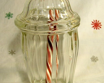 covered clear tall glass cookie / candy jar