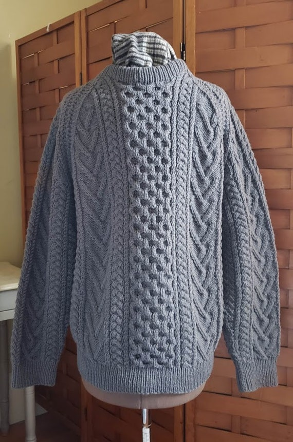 Vintage Gray Hand Knit Aran Fisherman Sweater - image 3