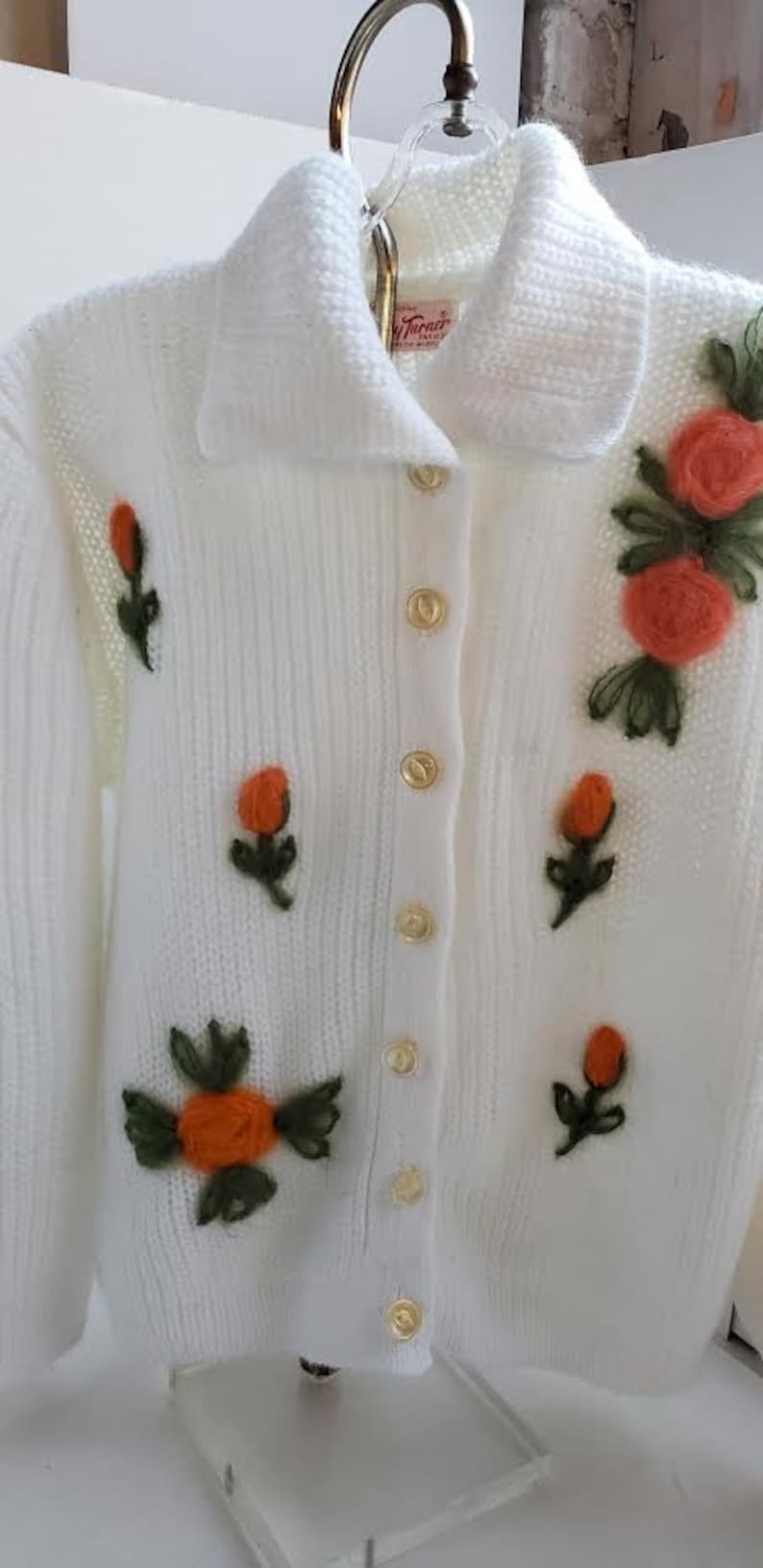 Vintage Chunky Knit Embroidered Cardigan Sweater