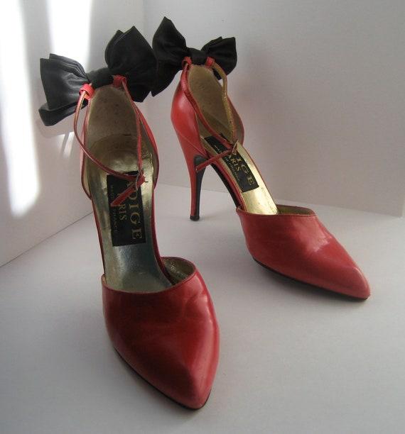 Red Stiletto Shoes Adige Paris Size 8-8 1/2