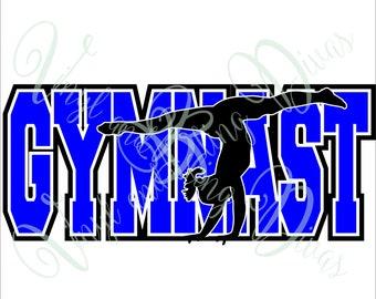 Gymnast with Border Digital File  SVG, ESP, PNG, Jpg File