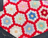 Vintage Hexagon Quilt - Large Piece for Crafting and Sewing Projects - Sweet Feedsack Prints with a RED Garden Path - AA