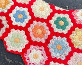 Vintage Hexagon Quilt - Large Piece for Crafting and Sewing Projects - Sweet Feedsack Prints with a RED Garden Path - BB