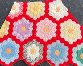 Vintage Hexagon Quilt - Large Piece for Crafting and Sewing Projects - Sweet Feedsack Prints with a RED Garden Path - CC
