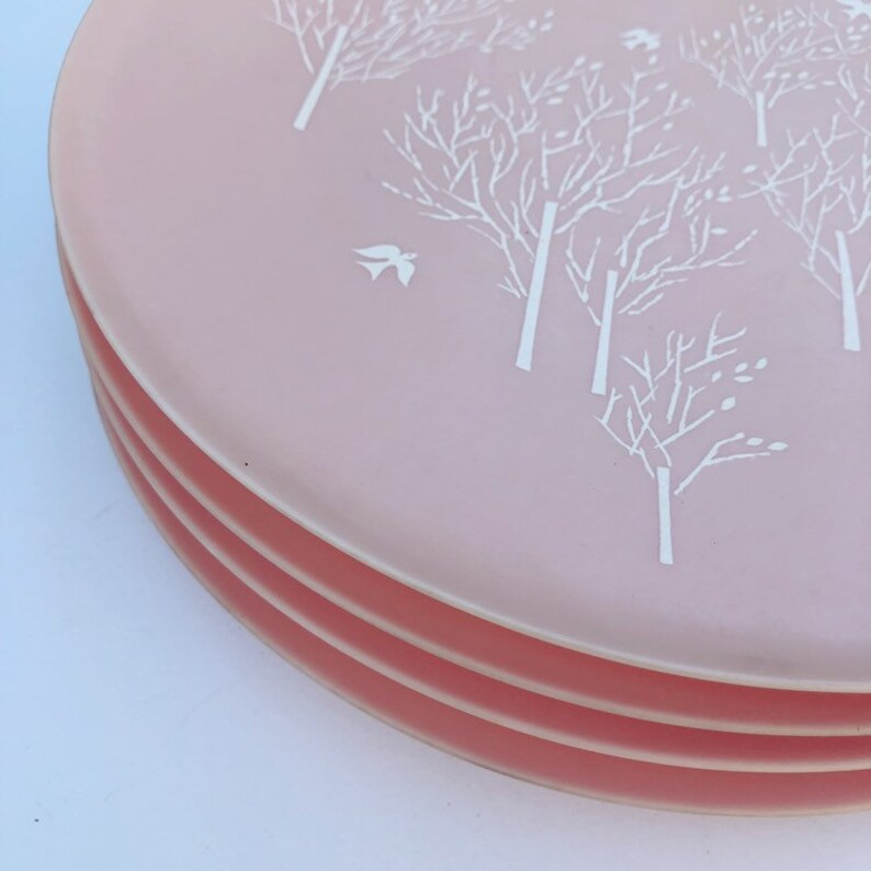 MORNING SONG Vintage  1958 PINK Mid Century Modern Melmac Plates Such a Rare Find Raymond Loewy