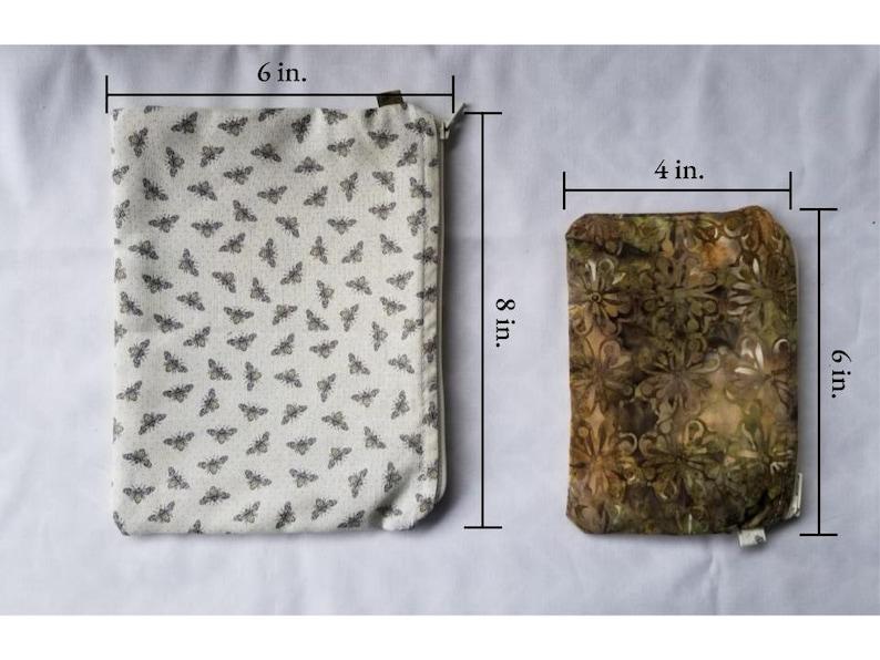 Cotton Zipper Pouch Set of Two 4x6 /& 8x6