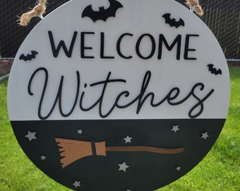 welcome witches sign, halloween sign, halloween front door sign, halloween door hanger, welcome witches, fun halloween sign
