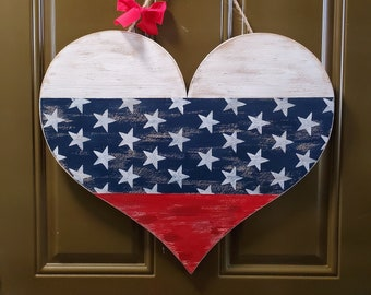 wood sign, wood decor, wood art, heart sign, front door decor, front door sign, fourth of july decor, fourth of july sign