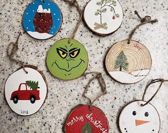 christmas ornaments, wood slice ornaments, merry christmas, christmas wood slices, handpainted ornaments, christmas gift ideas