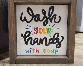 wash your hands, wash your hands sign, bathroom sign, fun bathroom decor, wash your hands with soap sign, colorful bathroom sign