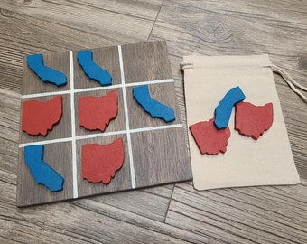 tic tac toe game, handmade tic tac toe game, state tic tac toe, custom tic tac toe, wood tic tac toe game, housewarming gift