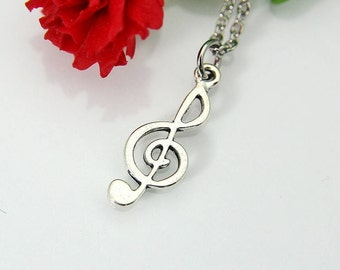 Music Necklace, Music Gift, Treble Clef Necklace, Treble Clef Charm, Music Note Charm, Graduation Gift, Personalized Gift, Best Friend Gift