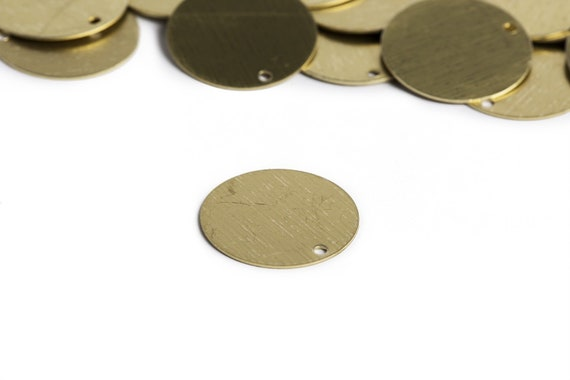 10 Circle Charms Metal Stamping Blanks Gold Brass Initial Unplated