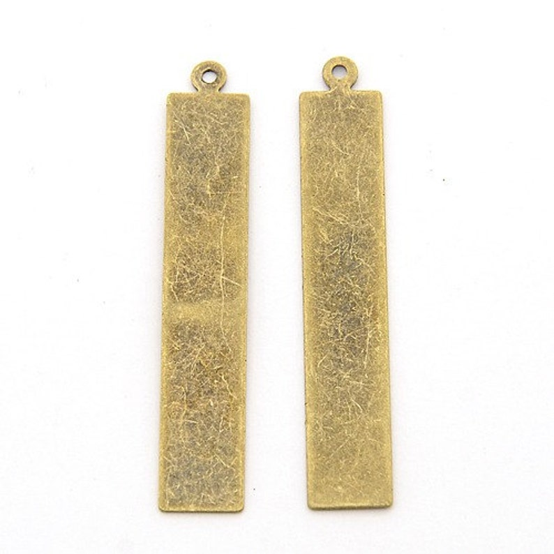 Metal Stamping Blank Tags Antiqued Bronze Rectangle Stamping Blanks Metal Tags Bronze Blanks Brass blanks 41mm 10 pieces