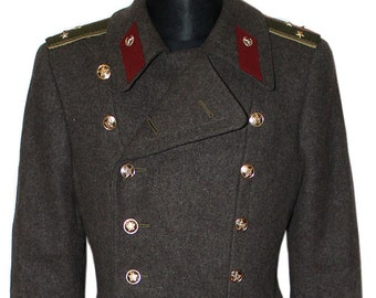 Soviet Army Oficer military winter everyday warm USSR WW2 overcoat taupe Red Army coat