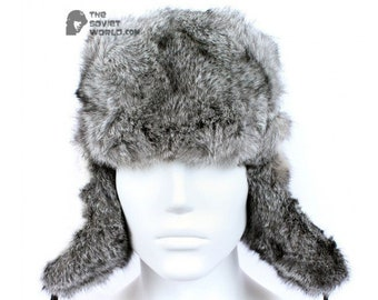 696aa2d30cd Russian Soviet original vintage Gray Rabbit USSR fur winter hat Ushanka  earflaps