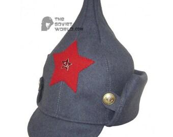 1382fdd7e96 Soviet RKKA infantry russian Red Army woolen winter hat BUDENOVKA gray with  earflaps