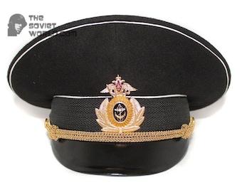 0a82d5cabd627 Soviet Fleet Russian army Naval black Captain visor black hat