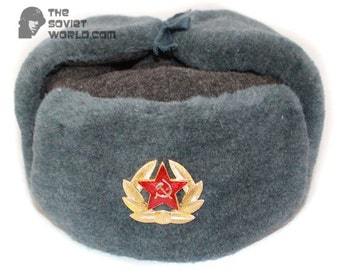 a0a3941028ef2 Russian Army Soviet military original vintage fur winter Sergeant s trapper hat  Ushanka earflaps