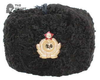 60d50294c75 Soviet Russian Naval Admiral winter original black Astrakhan fur and  leather Ushanka hat earflaps