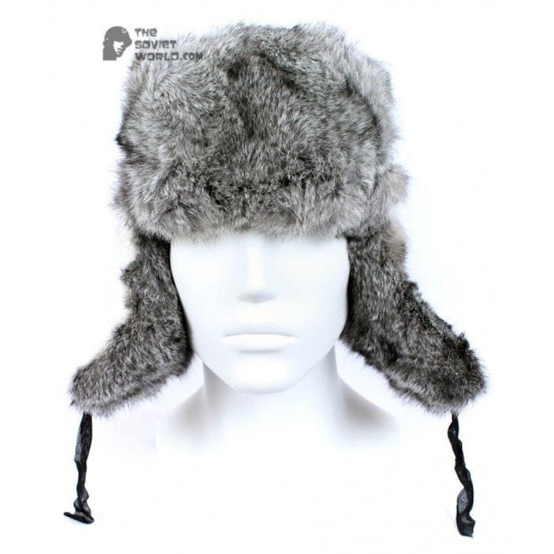 9d01bab1625 Russian Soviet original vintage Gray Rabbit USSR fur winter