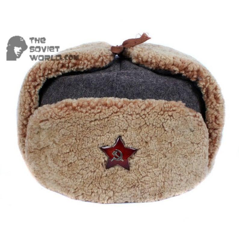 76762816fa1 Vintage Soviet BOMBER WWII Ushanka Army Soviet military