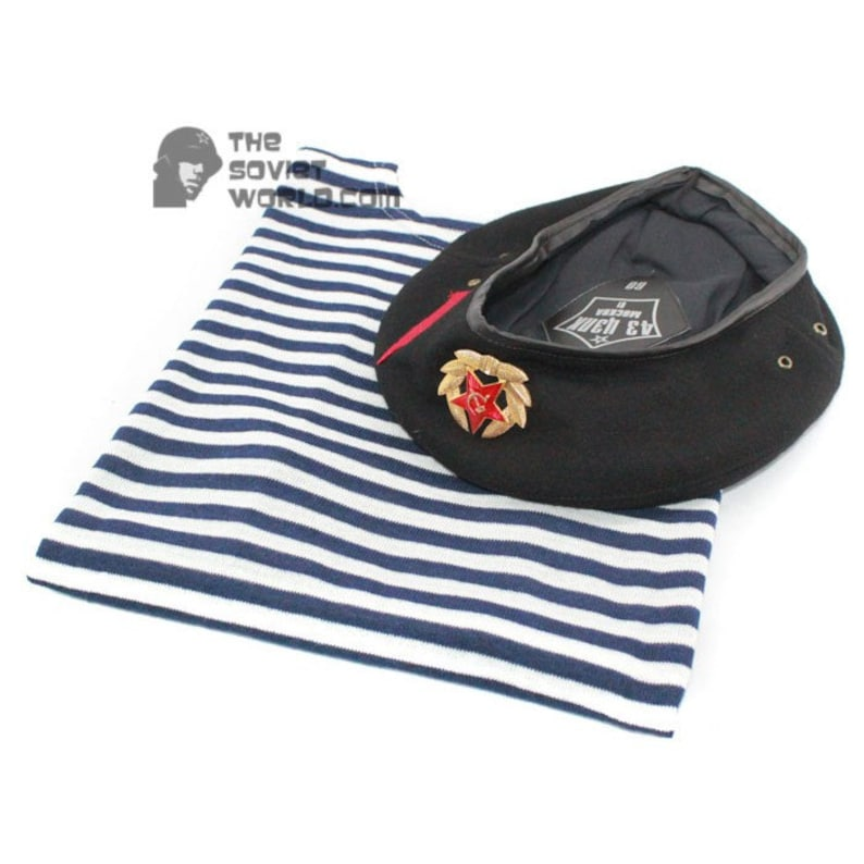 a140819dd7c28 Soviet NAVY   Russian marines striped t-shirt vest and Beret