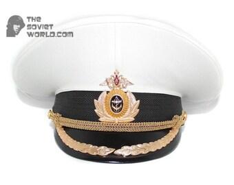 Russian Fleet Naval High rank Officer's PARADE military visor white Captain hat