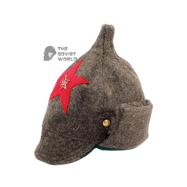 828814e56ac Soviet Russian Red Army woolen earflaps grey winter WW2 hat