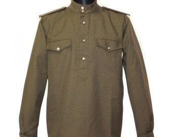 Soviet Army military WW2 USSR uniform Gimnasterka shirt Officer khaki jacket