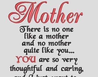 Mother Embroidery Design / Embroidery Design / Words about Mother / Mother's Day
