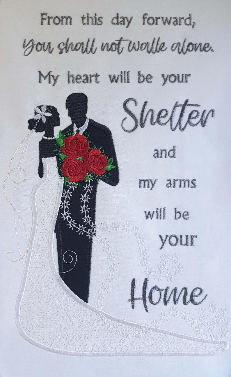 Wedding Quote Applique Embroidery Design Bride And Groom Etsy
