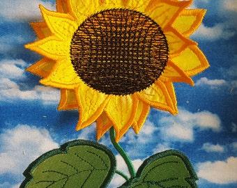 Sunflower 3D Applique Embroidery Design / Machine embroidery/ Applique / 3D embroidery