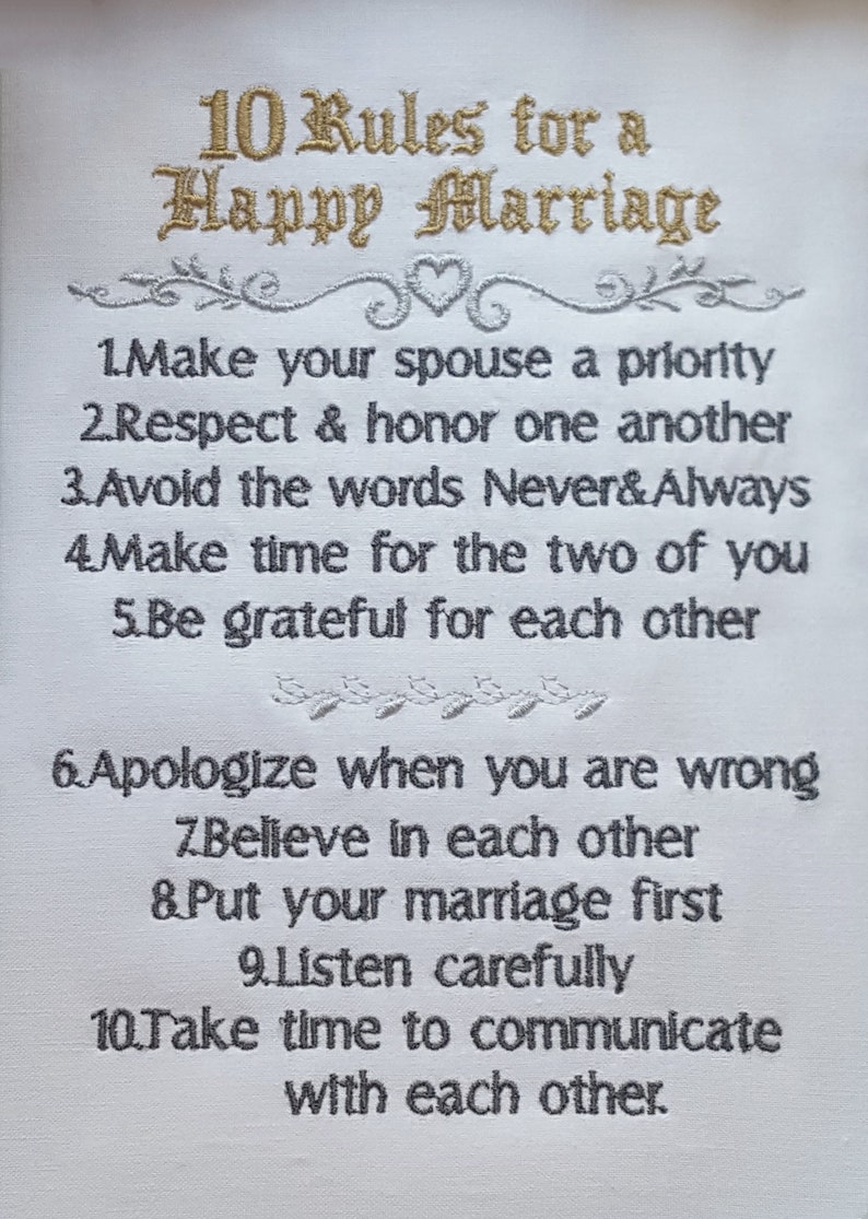 rules of successfull marriage  embroidery design
