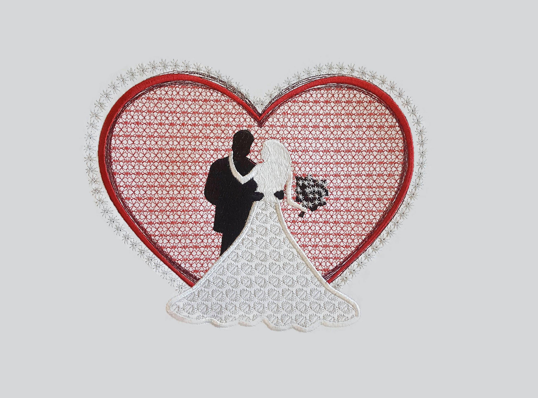 Wedding Heart Embroidery Design / Bride and Groom / Applique / | Etsy