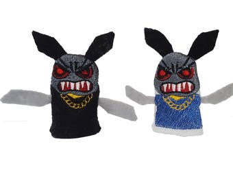 Mad Rabbit Two Finger Puppets / War games / Finger fight / War toys / Finger Puppet