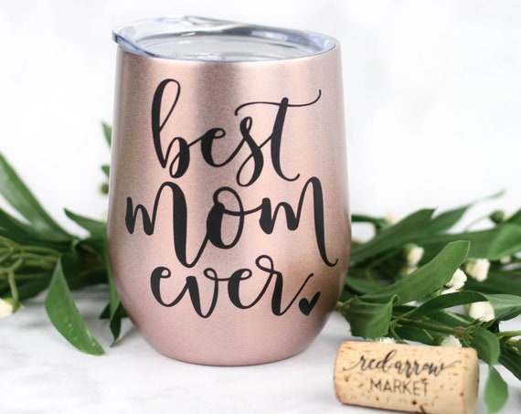 Best Mom Ever SWIG Rose Gold Wine Glass Tumbler - Gifts for Mom Birthday, Mother's Day Gift Mothers Day Gift Ideas - Includes Gift Bag & Tag