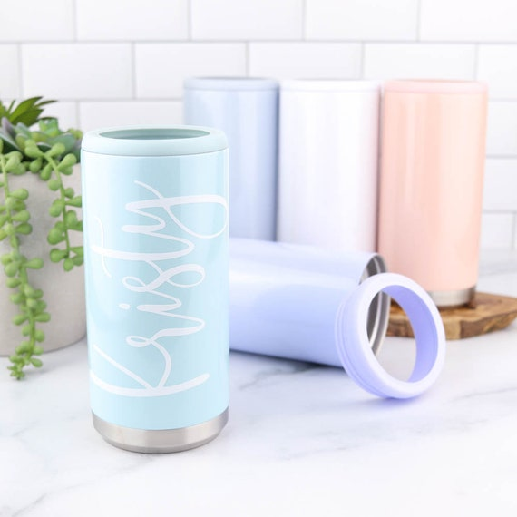 Slim Can Cooler, Personalized Stainless Steel Skinny Can Cooler, Wedding Bachelorette Bridal Girls Trip Party Favor, Can Holder for Seltzer