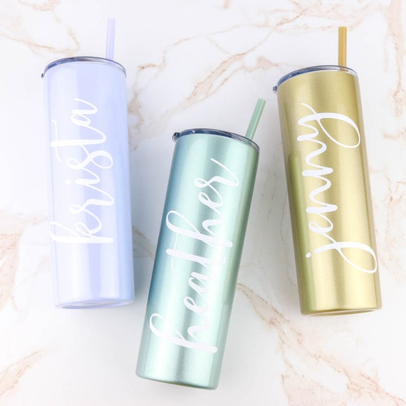 Personalized Glitter Tumbler, Skinny 20 oz Stainless Steel Cup w/ straw