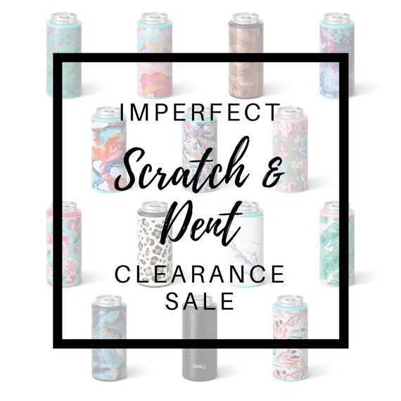 Imperfect Scratch & Dent Clearance Sale - Skinny 12 oz Slim Can Cooler, 12 oz Wine Cup w/ lid - Personalized w/ Name